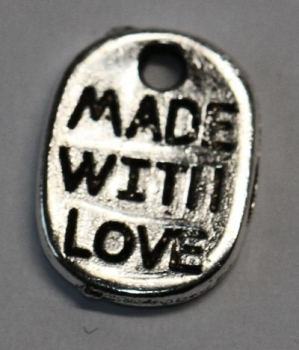 "1 Button aus Metall ""made with love"" silberfarben ca. 10 mm x 8 mm zum Annähen"
