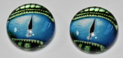 1 Paar Augen Glaslinsen Drache Mit Augenlid Zum Aufkleben 10 Mm Blau Grün