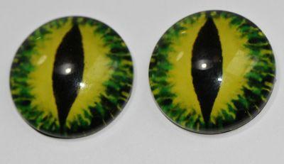 1 Paar Augen Glaslinsen Zum Aufkleben 20 Mm Drache Grün Gelb